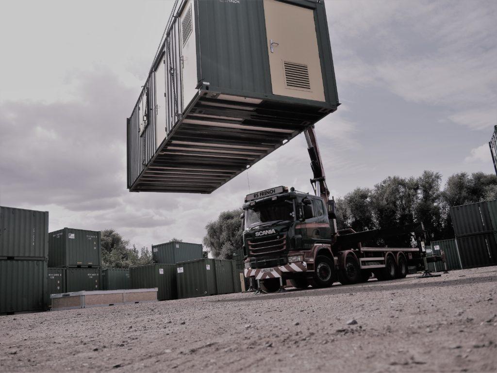 RS French Hiab lifting a welfare unit