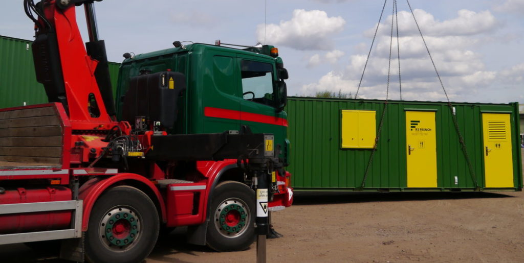 RS French Hiab unloading a welfare unit